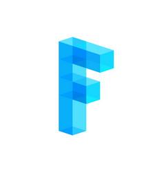 F letter blue ice transparent cubes frozen logo vector