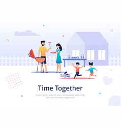 family weekend together having barbecue time vector image