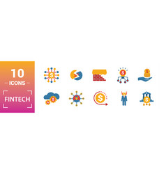 Fintech icon set include creative elements online vector