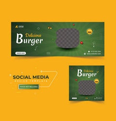 Food facebook cover post template vector
