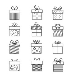 Gift boxes thin line icons present box vector