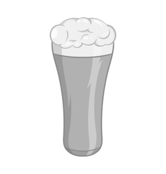 Glass of beer icon black monochrome style vector image
