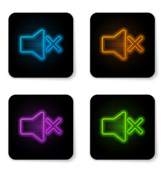 Glowing neon speaker mute icon isolated on white vector