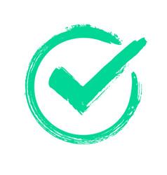 green grunge check mark correct answer checking vector image