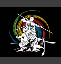 group people kung fu fighter martial arts vector image