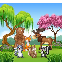 Happy animal collection in the jungle vector image