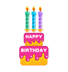 happy birthday cake dessert with candles sweets vector image