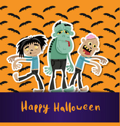 Happy halloween poster with cute zombies vector