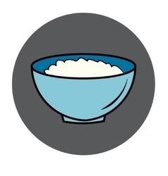 Healthy food icon porridge blue plate vector
