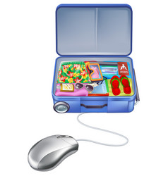 holiday vacation suitcase mouse concept vector image
