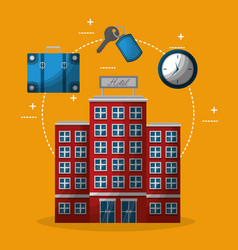 Hotel building clock suitcase and keychain key vector