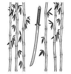 katana sword and bamboo sketch vector image
