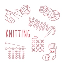 Knitting Related Object Set With Text vector