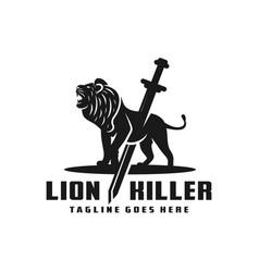 lion killer logo vector image