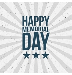 Memorial Day Type on striped grunge Background vector image