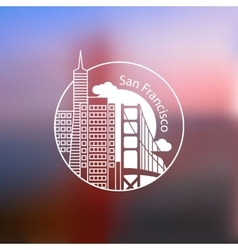 Minimalist round icon of San Francisco USA Flat vector image