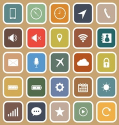 Mobile phone flat icons on brown background vector