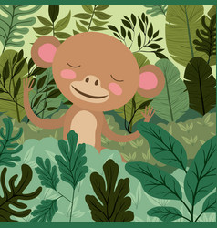 Monkey in the forest scene vector
