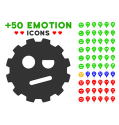 Negation smiley gear icon with bonus avatar vector