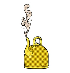 old iron kettle comic cartoon vector image