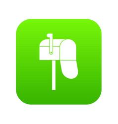 open mailbox icon digital green vector image