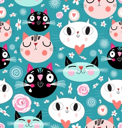 Pattern of love funny cats vector