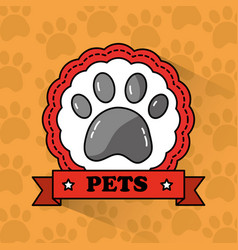 pet paw print emblem banner vector image