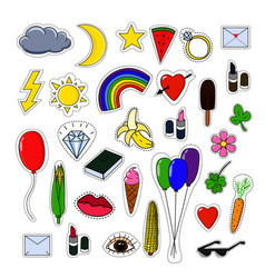 pins and stickers collection isolated on white vector image