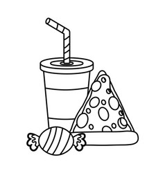 Pizza soda and candy food vector