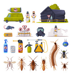 professional home pest control service set vector image