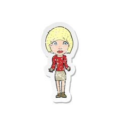retro distressed sticker a cartoon woman vector image