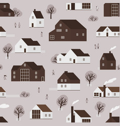 seamless pattern with district suburban vector image