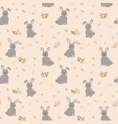 seamless pattern with rabbits the gang vector image