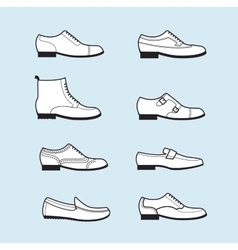 Set icons of flat classical man shoes vector