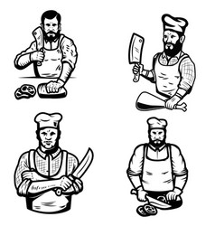 Set of butcher on white background vector