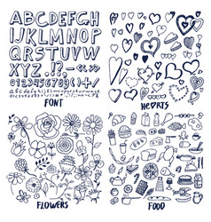 set of font hearts flowers and food templates vector image