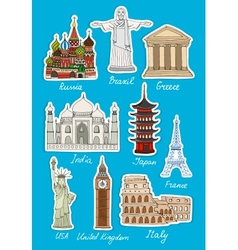Set travel landmarks icons vector