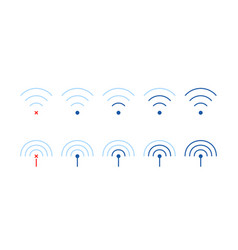 set weak or strong wifi signal vector image