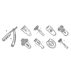shaver icon set outline style vector image