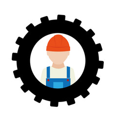 silhouette in shape of gear with worker with vector image