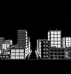 Sketch of white street on black backgound vector