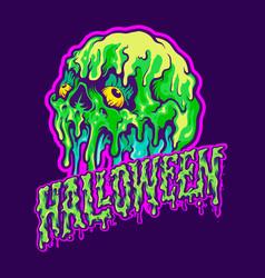 skull melting halloween text vector image