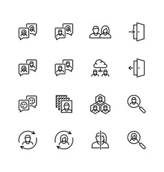 Social profile related icon set in thin line style vector