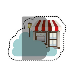 Sticker cloud in cumulus shape with store with vector