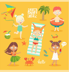 summer kids set swimming playing on the beach vector image