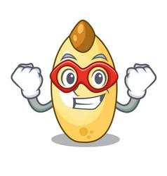 Super hero character brown cedar nut fruit on vector