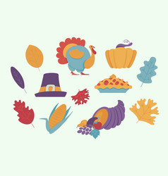 thanksgiving day elements for holiday design in vector image