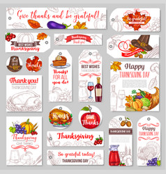 Thanksgiving day sketch holiday tags vector