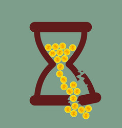 Time is money broken hourglass with gold coins vector