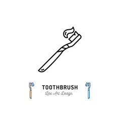 toothbrush icontoothpaste on toothbrush logo vector image